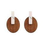 CE11-033 Oval Wood & Rectangular Stone Earring