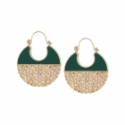 CE11-054 Leather Inset Casting Earring