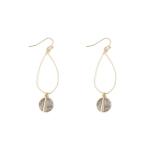CE1220 Inset Stone Hoop Earring
