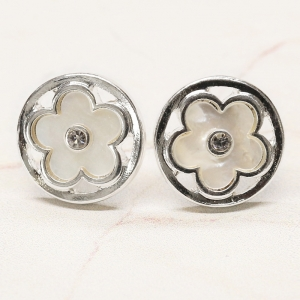 CE-1552 Circle Flower Stud Earring, Silver