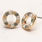 CE-19304 Multi Color Rhinestone Circle Stud Earring, GBD