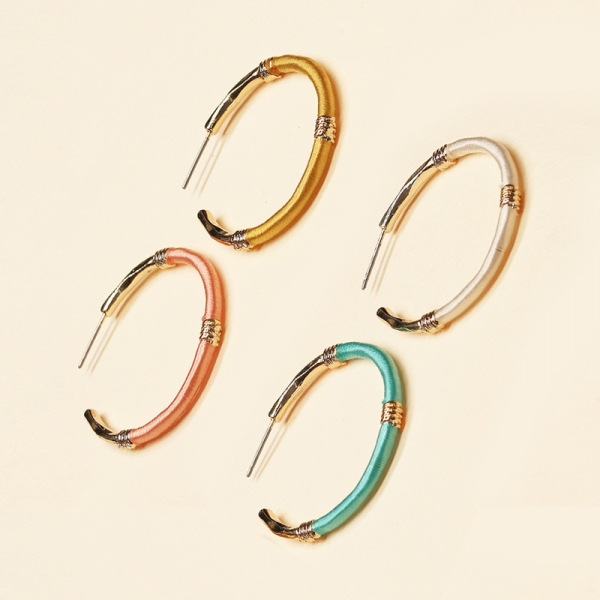 CE-2203 Embroidery Thread Wrapped Hoop Earring