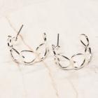 CE-2299 Heart Shape Hoop Stud Earring, Silver