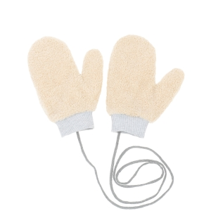 CG0351 Solid Teddy Bear Feel Mitten Gloves, Beige
