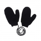 CG0351 Solid Teddy Bear Feel Mitten Gloves, Black