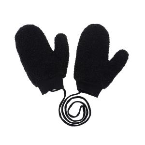 CG0351 Solid Teddy Bear Feel Mitten Gloves, Black