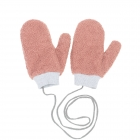 CG0351 Solid Teddy Bear Feel Mitten Gloves, Pink