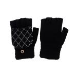 CG0352 Solid W/Crochet Flip Cover Gloves, Black