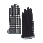 CG0353 Basic Plaid Pattern Touchscreen Gloves, Black