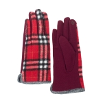 CG0353 Basic Plaid Pattern Touchscreen Gloves, Red