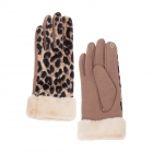 CG0354 Leopard pattern Velour Touchscreen Gloves, Taupe