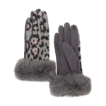 CG0355 Leopard pattern Gloves W/Faux Fur Edge Gloves, Grey