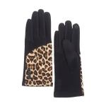 CG0357 Half Solid & Half Leopard Pattern Touchscreen Gloves, Black