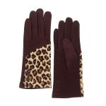 CG0357 Half Solid & Half Leopard Pattern Touchscreen Gloves, Brown