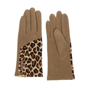 CG0357 Half Solid & Half Leopard Pattern Touchscreen Gloves