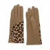 CG0357 Half Solid & Half Leopard Pattern Touchscreen Gloves, Taupe