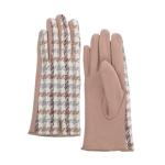 CG0358 Two-tone Hound-tooth Pattern Gloves, Beige