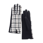 CG0358 Two-tone Hound-tooth Pattern Gloves, Black