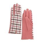 CG0358 Two-tone Hound-tooth Pattern Gloves, Berry