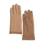 CG0359 Solid Short Curly Faux Fur Gloves, Beige