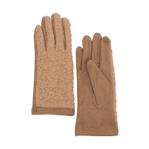 CG0359 Solid Short Curly Faux Fur Gloves