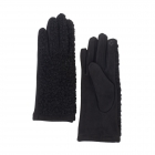 CG0359 Solid Short Curly Faux Fur Gloves, Black