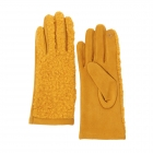CG0359 Solid Short Curly Faux Fur Gloves, Mustard