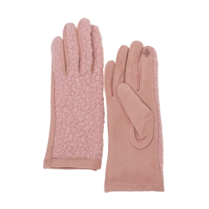 CG0359 Solid Short Curly Faux Fur Gloves, Pink