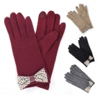 CG6403 Check Pattern Bow Gloves