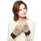 CG6501 Fur Pom Pom Mitten Glove With Lining, Beige