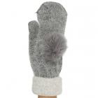 CG6501 Fur Pom Pom Mitten Glove With Lining, Dark Grey