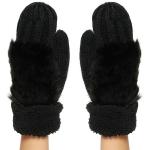 CG8001 Faux Fur Trimmed Knit Mitten W/ Lining, Black
