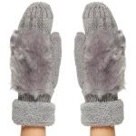 CG8001 Faux Fur Trimmed Knit Mitten W/ Lining, Grey