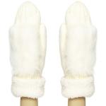 CG8001 Faux Fur Trimmed Knit Mitten W/ Lining, Ivory