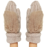 CG8001 Faux Fur Trimmed Knit Mitten W/ Lining, Taupe