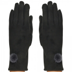 CG8002 Suede Feel Pom Pom Touchscreen Gloves, Black
