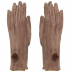 CG8002 Suede Feel Pom Pom Touchscreen Gloves, Taupe
