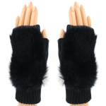CG8009 Solid Fur Fingerless Gloves, Black