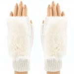 CG8009 Solid Fur Fingerless Gloves, Ivory