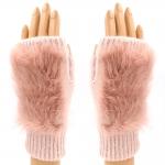 CG8009 Solid Fur Fingerless Gloves, Pink