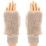 CG8009 Solid Fur Fingerless Gloves, Taupe