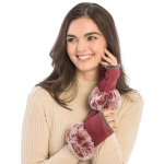 CG9003 Fingerless Gloves W/Faux Fur Trimmed, Burgundy
