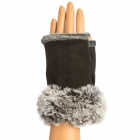 CG9003 Fingerless Gloves W/Faux Fur Trimmed, Black