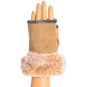 CG9003 Fingerless Gloves W/Faux Fur Trimmed, Camel