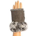 CG9003 Fingerless Gloves W/Faux Fur Trimmed, Grey