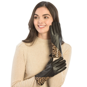 CG9004 Faux Leather W/Leopard Accent Gloves