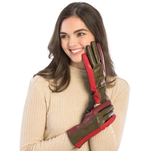 CG9005 Faux Leather With Color block Gloves