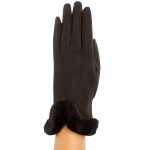 CG9011 Solid Color Faux Fur Sheraling Gloves, Black