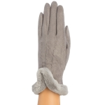 CG9011 Solid Color Faux Fur Sheraling Gloves,Grey