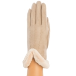 CG9011 Solid Color Faux Fur Sheraling Gloves, Taupe